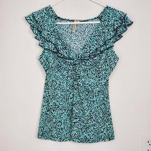 Susan Lawrence Top Teal Black White Sz S